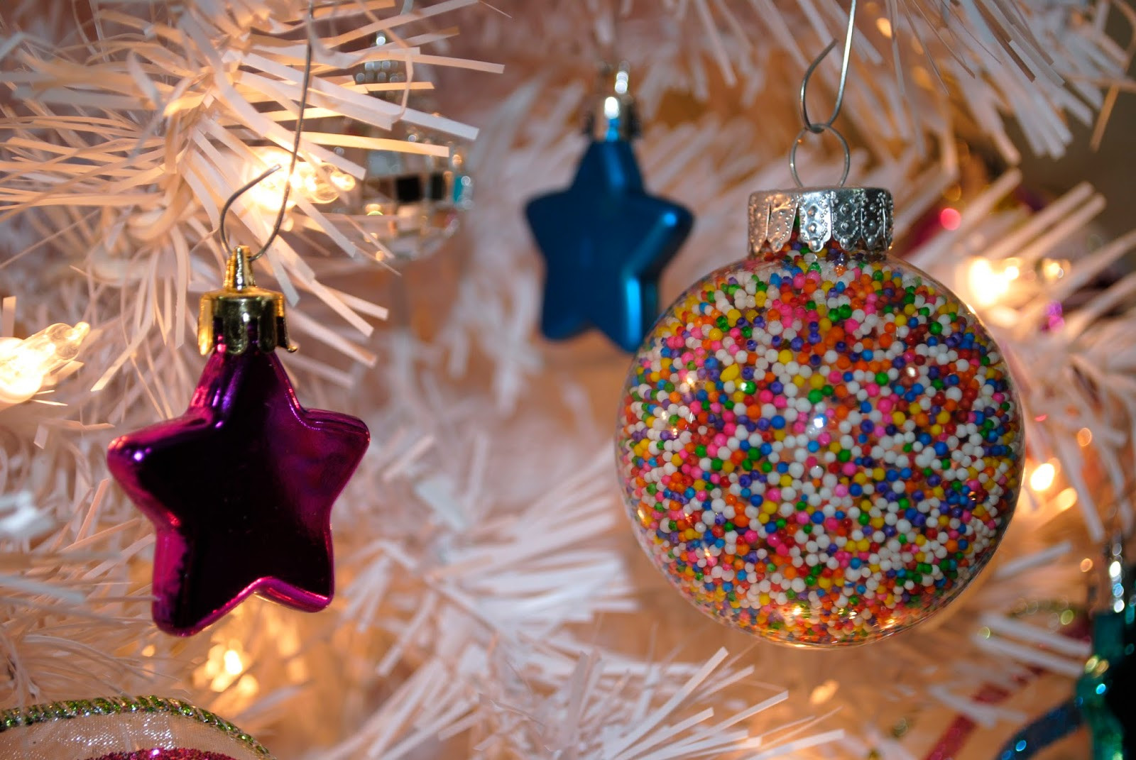 Candy Themed Christmas Ornaments  I ve always wanted a white tree covered with candy themed