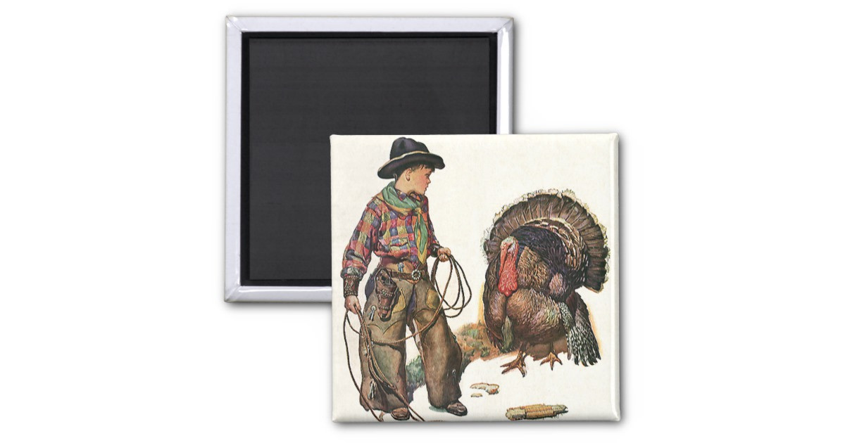 Catching The Thanksgiving Turkey  Vintage Thanksgiving Cowboy Catching a Turkey 2 Inch