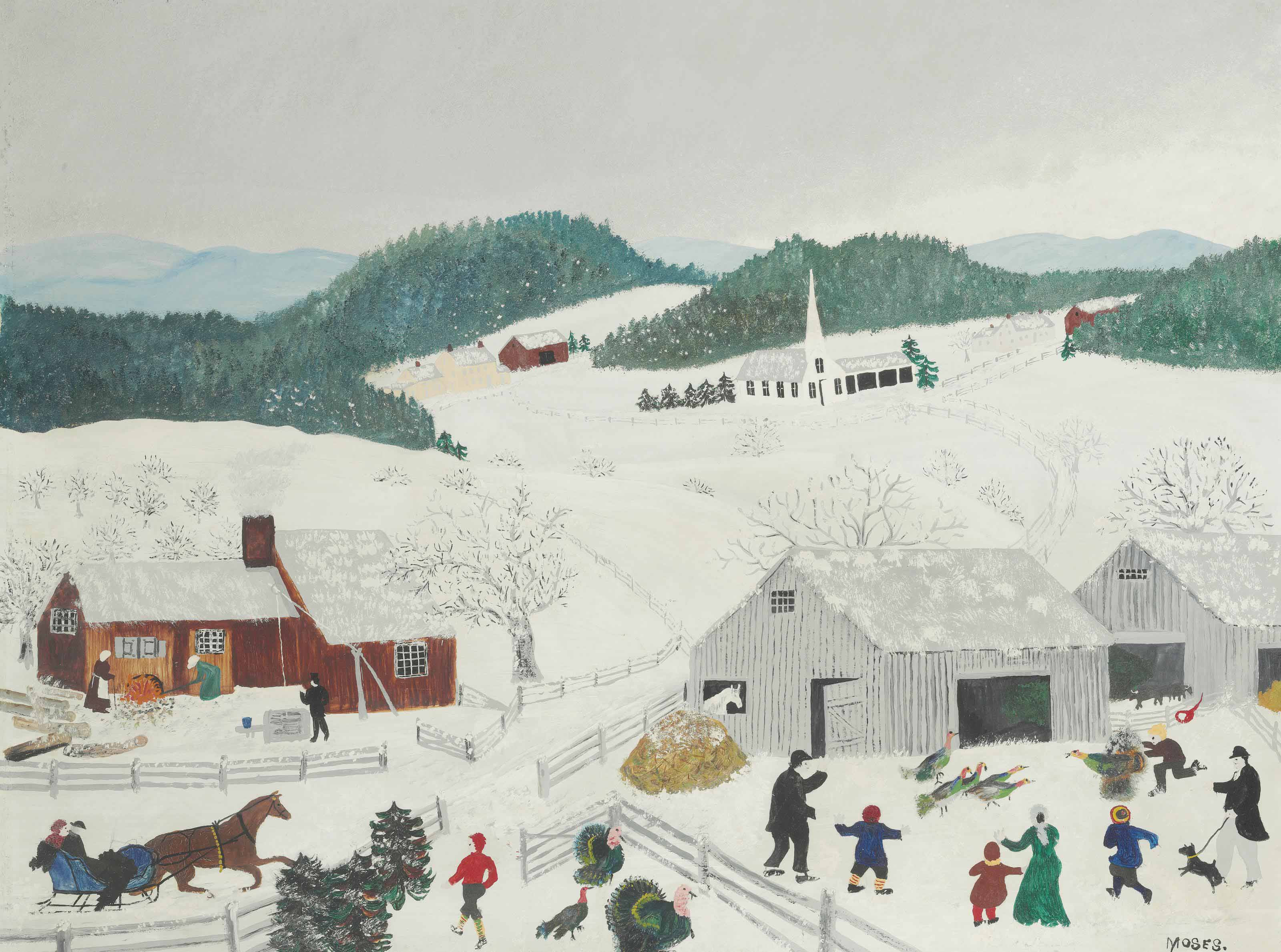 Catching The Thanksgiving Turkey  Anna Mary Robertson Grandma Moses 1860 1961 Catching