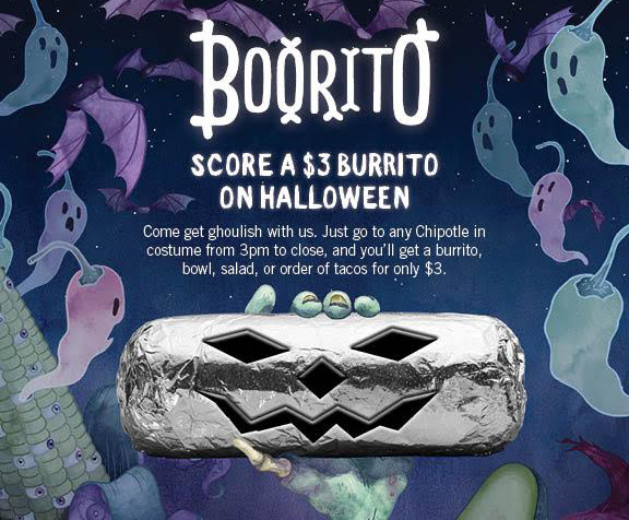 Chipotle Burritos Halloween  Chipotle Will Give You A Free Burrito For Playing A Simple