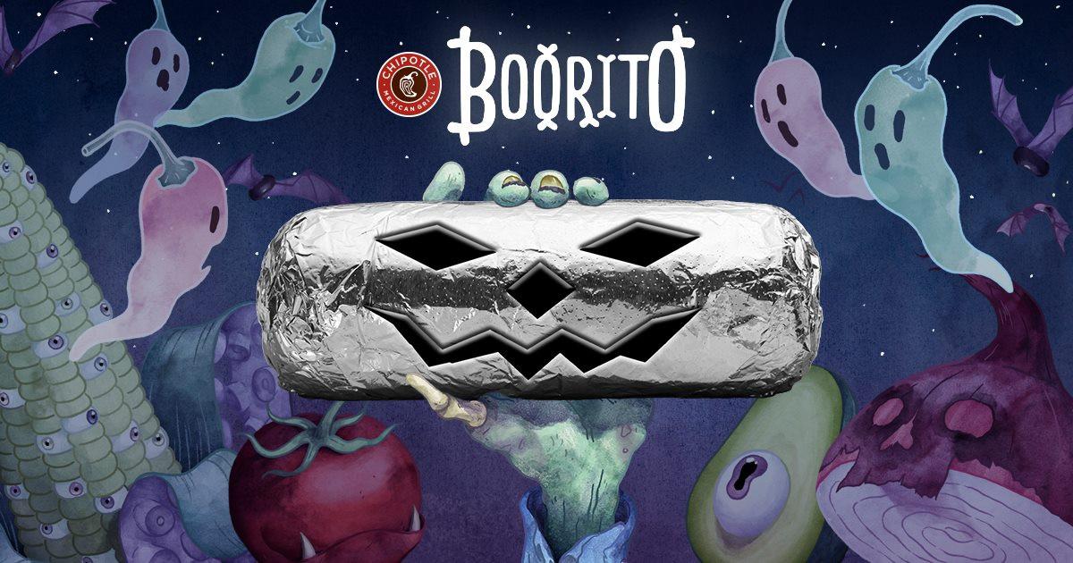 "Chipotle Halloween Burritos  $3 Chipotle ""Boorito"" Day Halloween 2017"