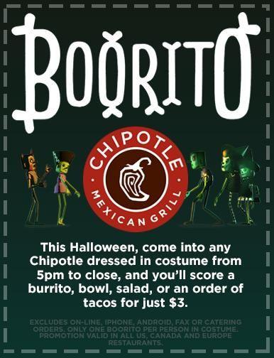 Chipotle Halloween Burritos  Chipotle Halloween $3 Burrito Bowl Taco or Salad $3 00