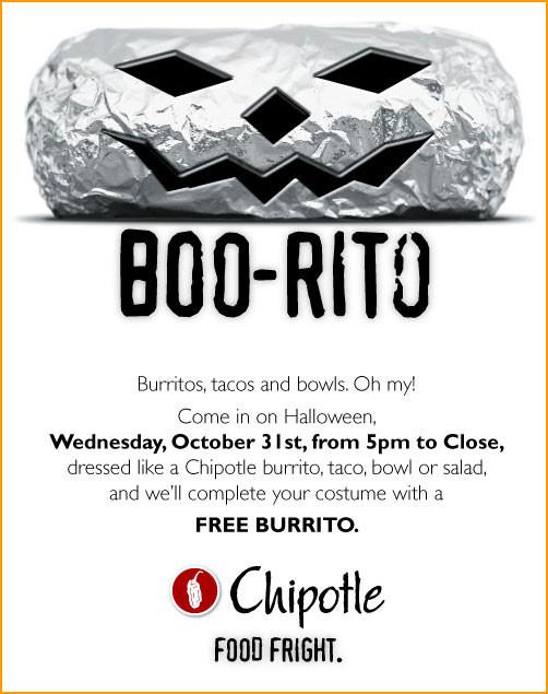 Chipotle Halloween Burritos  HALLOWEEN ONLY FREE CHIPOTLE BURRITO Doobybrain