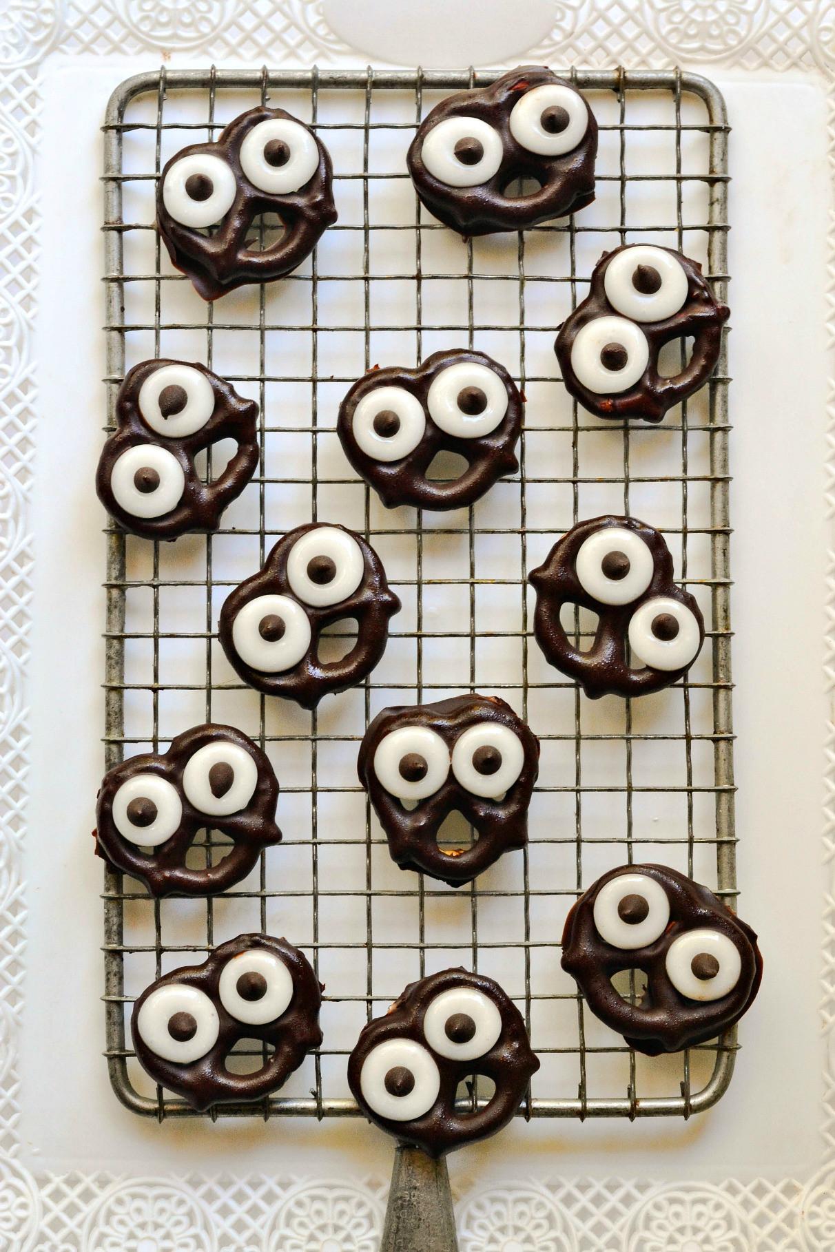 Chocolate Covered Pretzels Halloween  Dark Chocolate Covered Pretzel Screams Fork and Beans