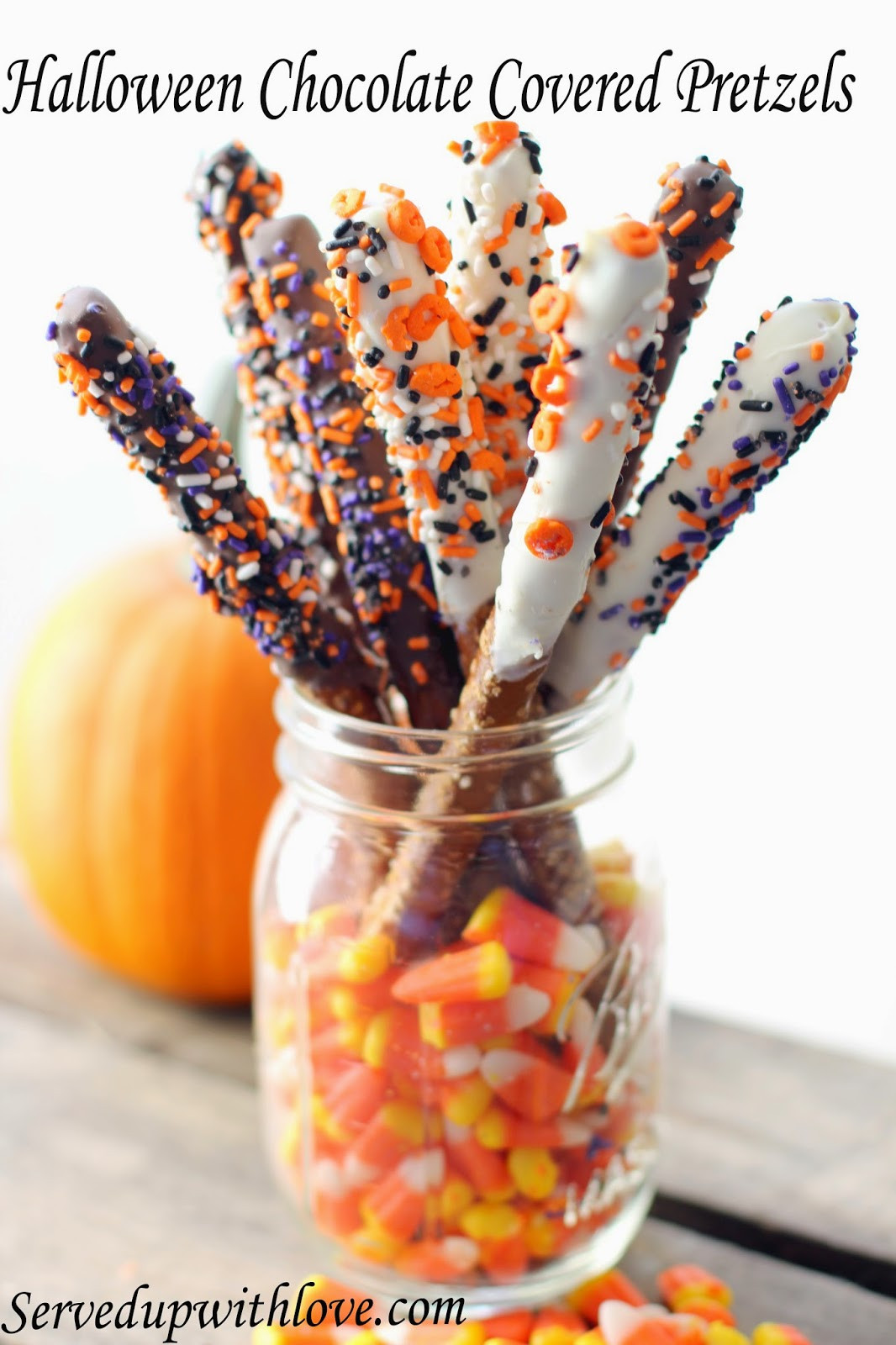 Chocolate Dipped Pretzels For Halloween  Served Up With Love Halloween Chocolate Covered Pretzels