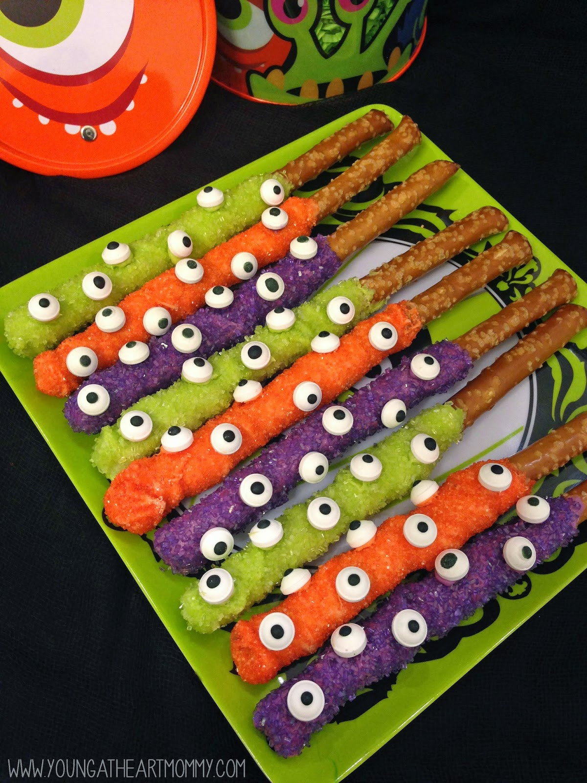 Chocolate Dipped Pretzels For Halloween  Young At Heart Mommy Eerie Eyeball Pretzel Rods