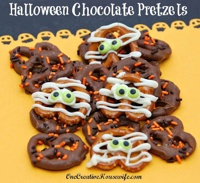 Chocolate Dipped Pretzels For Halloween  e Creative Housewife Halloween Chocolate Covered Pretzels
