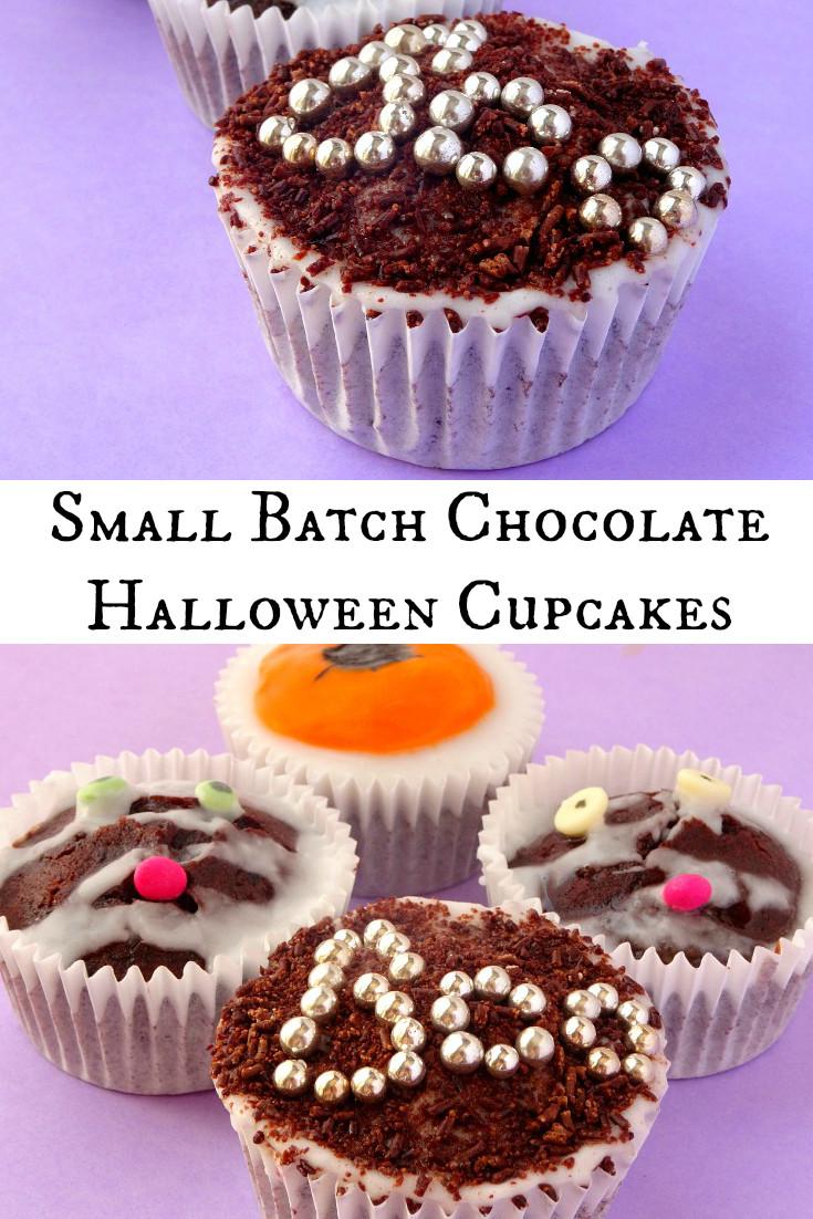 Chocolate Halloween Cupcakes  Small Batch Chocolate Halloween Cupcake Recipe