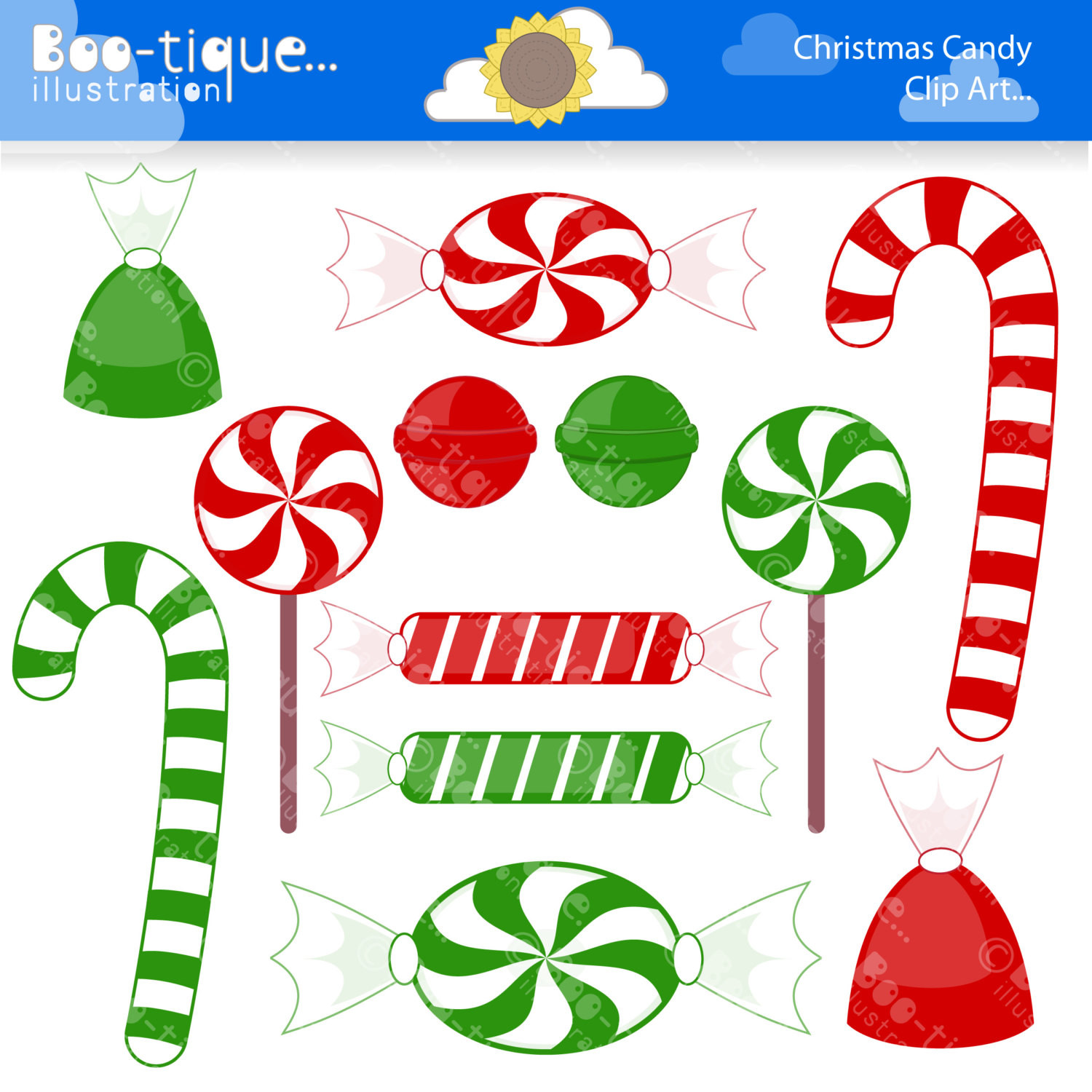 Christmas Candy Clip Art  Christmas Candy Digital Clipart for Instant Download