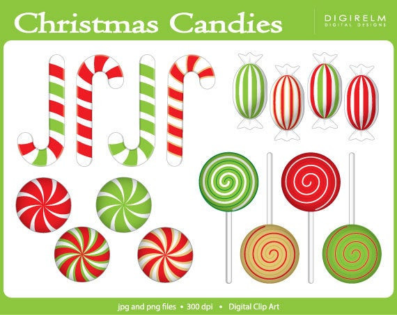 Christmas Candy Clip Art  Christmas Can s Clipart Digital Printable Clip Art