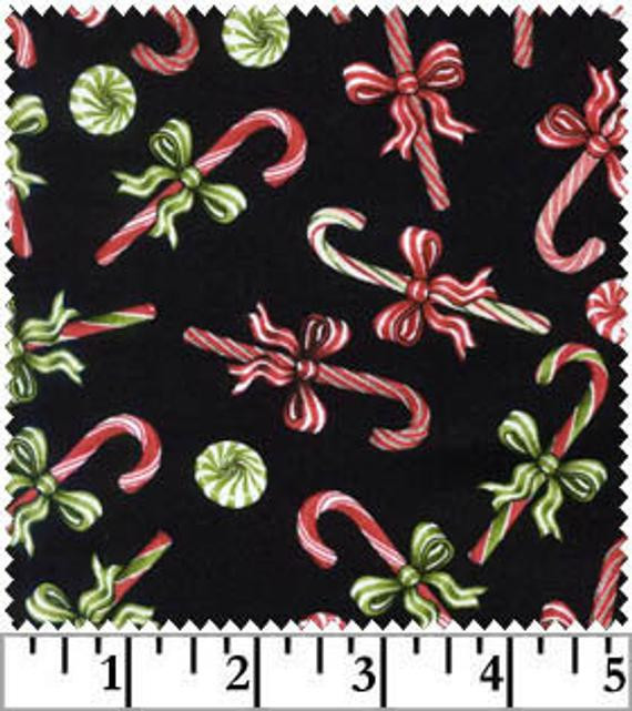 Christmas Candy Fabric  Christmas Fabric Candy Cane Fabric Black by ChristmasJul