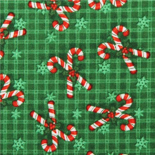Christmas Candy Fabric  green candy cane Christmas fabric Believe Christmas