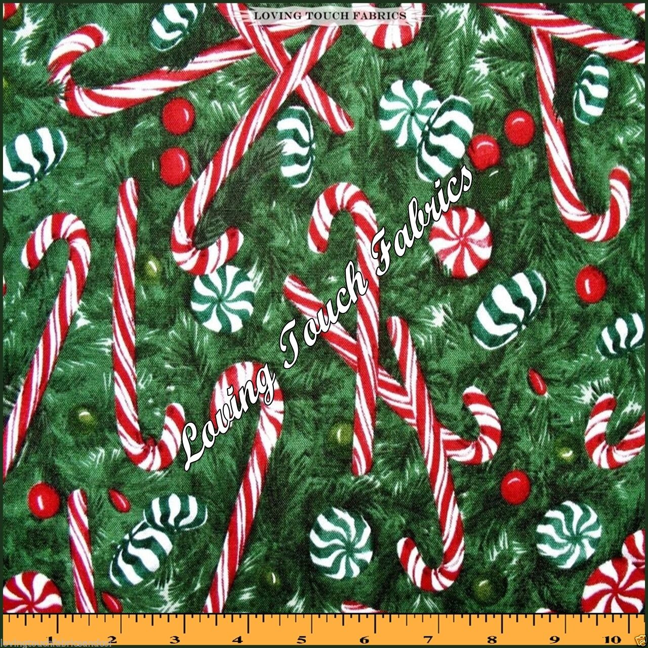 Christmas Candy Fabric  ROBERT KAUFMAN CHRISTMAS TREE PEPPERMINT CANDY CANES