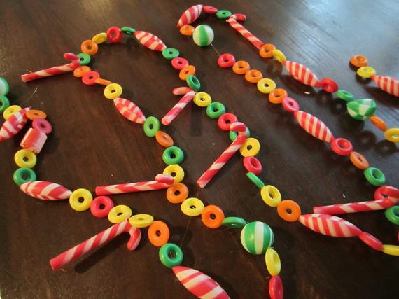 Christmas Candy Garland  Vintage Christmas Candy Garland 9 feet