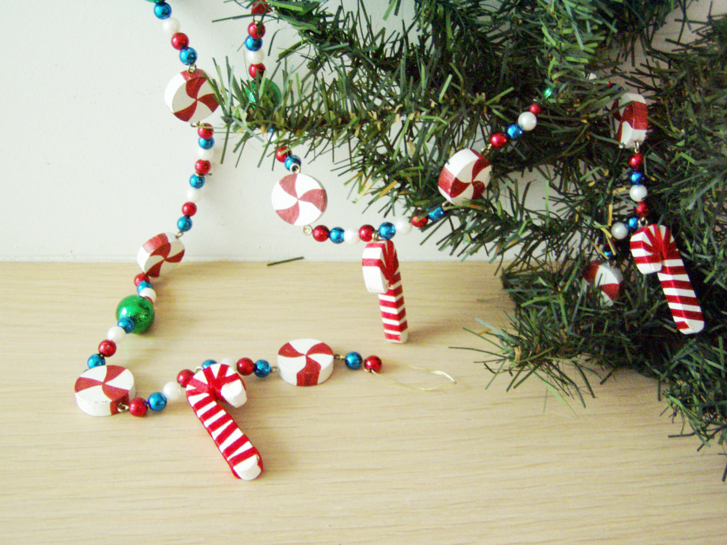 Christmas Candy Garland  Vintage Christmas garland candy cane and sweets by