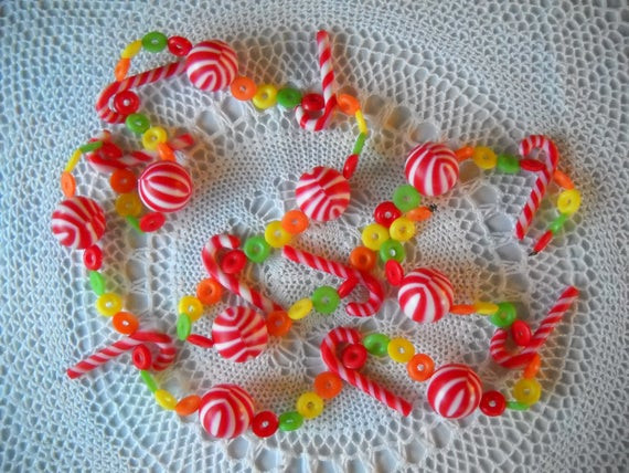 Christmas Candy Garland  Vintage Plastic Candy Garland Christmas Tree Decor