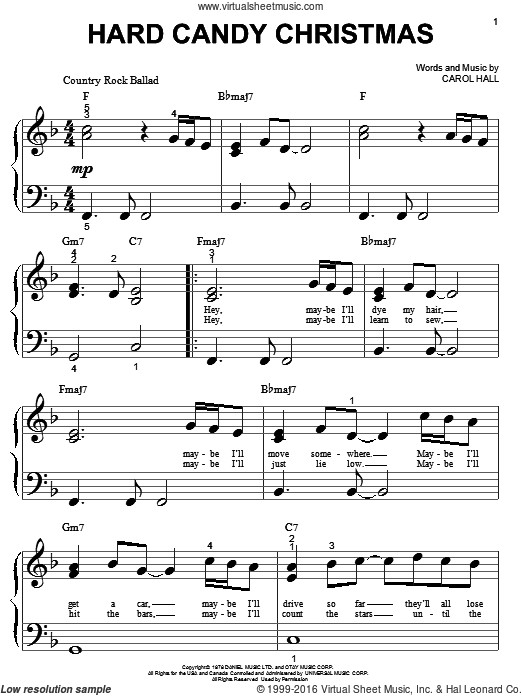 Christmas Candy Song  Parton Hard Candy Christmas sheet music for piano solo