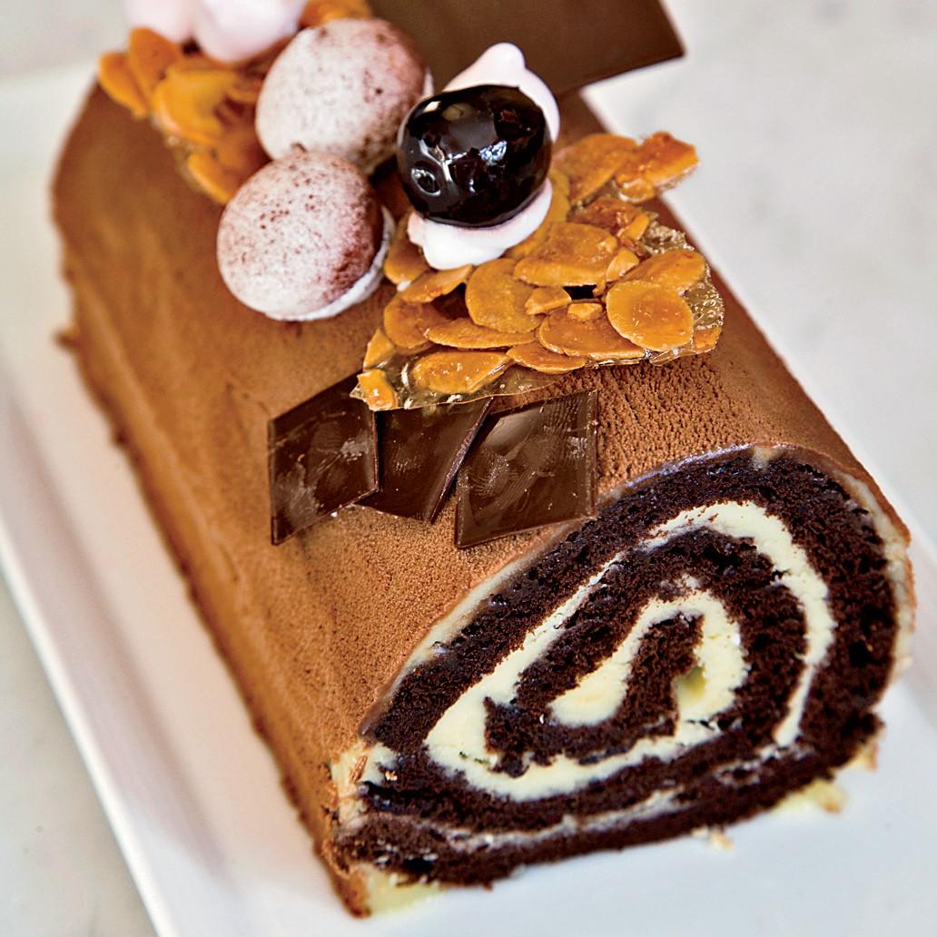 Christmas Chocolate Desserts  Cherry and Chocolate Bûche de Noël Recipe Dominique
