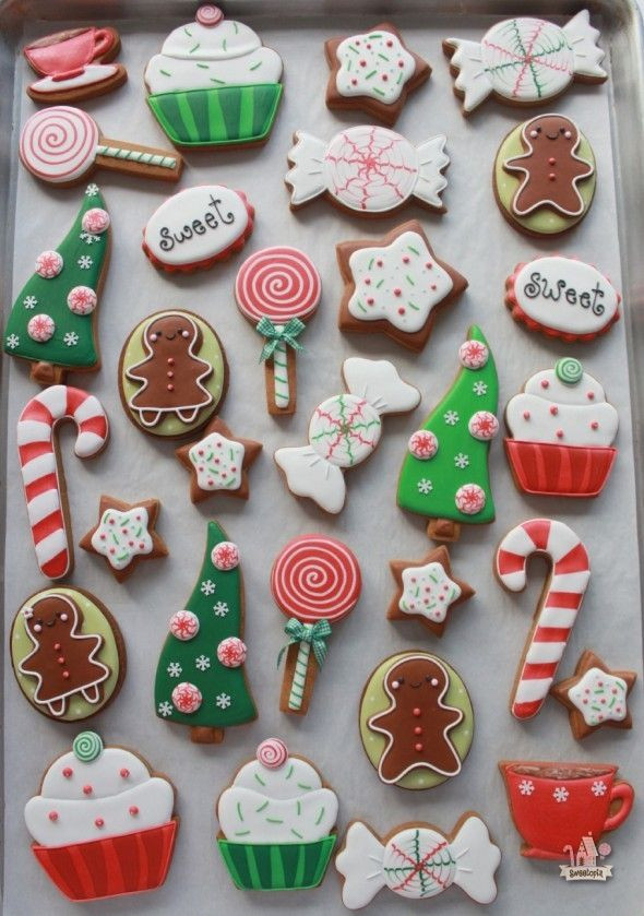 Christmas Cookie Icing Ideas  Red and Green Cute Candy Cutout cookies with Royal