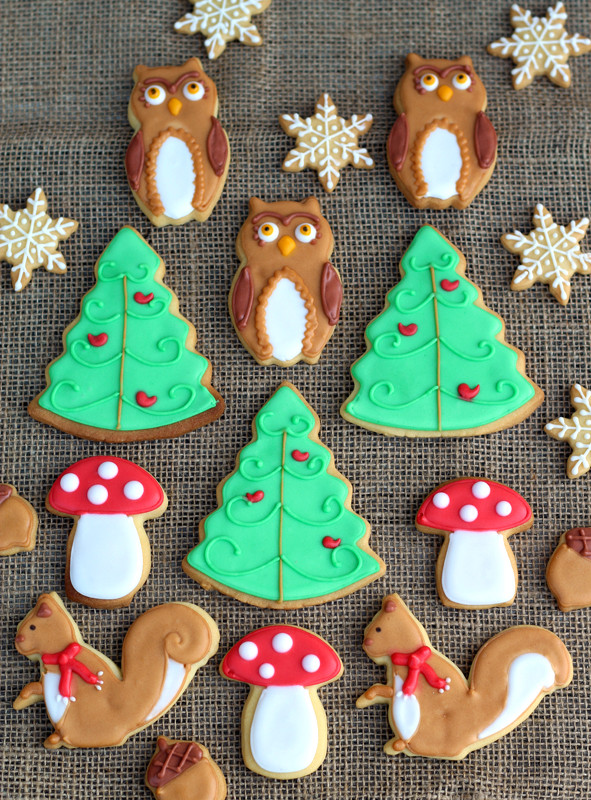 Christmas Cookies And Holiday Hearts  butter hearts sugar Woodland Christmas Cookies