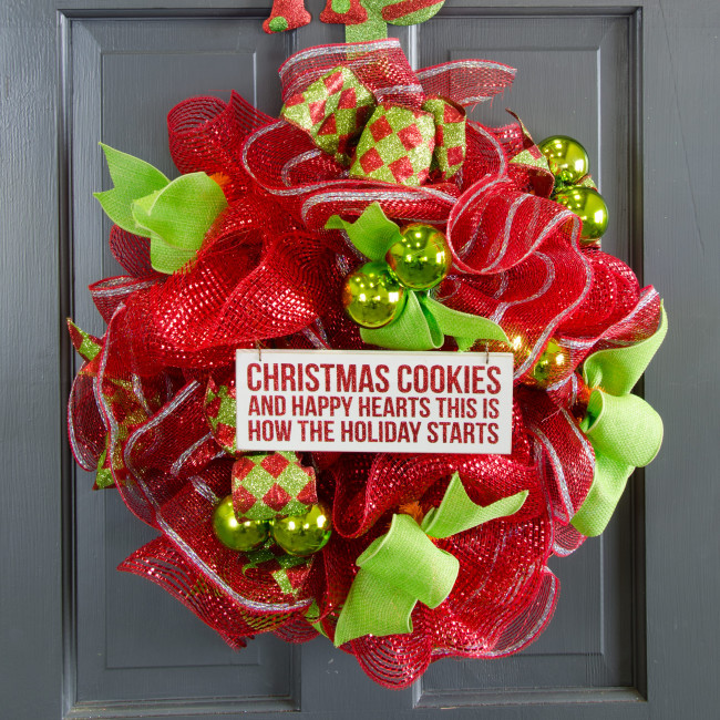 Christmas Cookies And Holiday Hearts  Wooden Christmas Sign Christmas Cookies & Happy Hearts 8