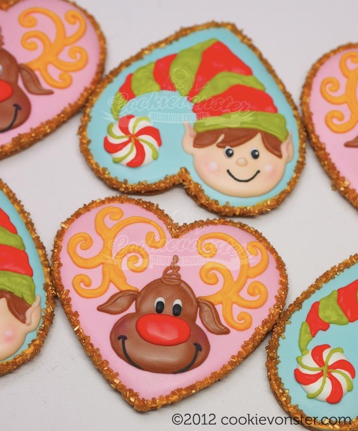 Christmas Cookies And Holiday Hearts  Christmas Elf and Reindeer Heart Cookie Cutter