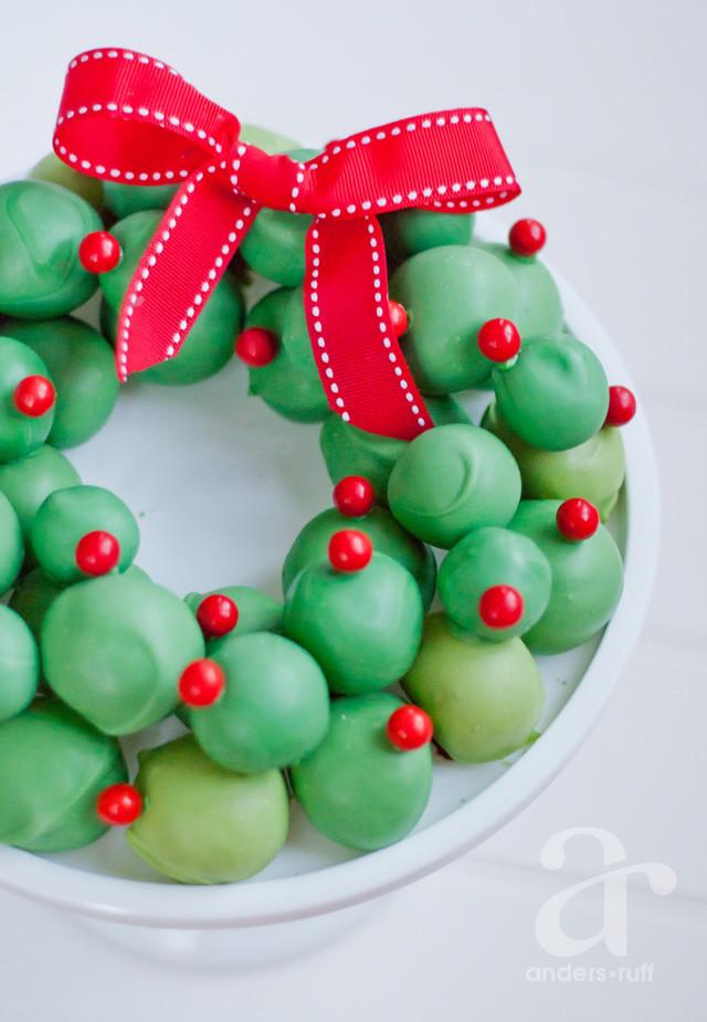 Christmas Cookies Balls  OREO Cookie Balls Wreath Recipe for the holiday season