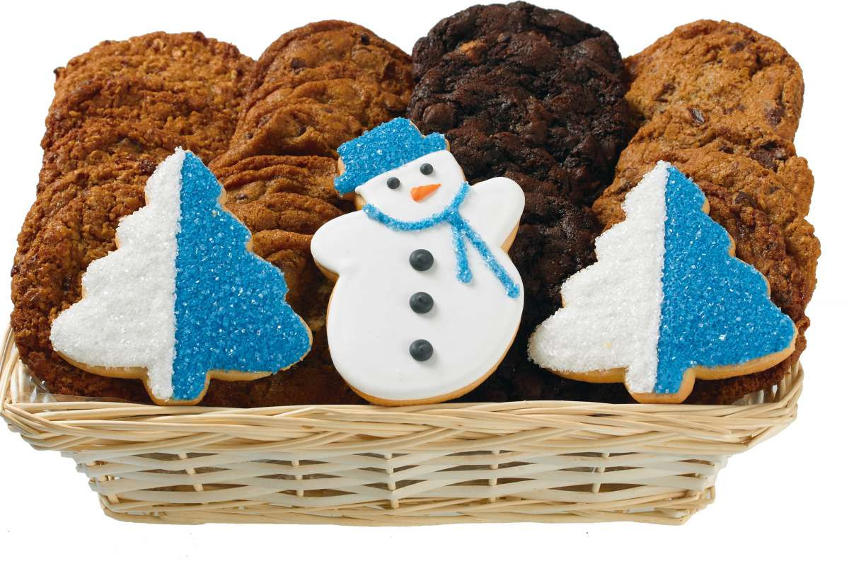 Christmas Cookies Delivered  Holiday Snowman and Trees Gift Basket