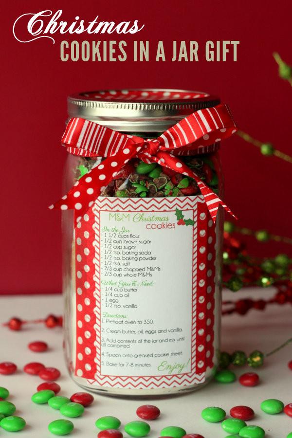 Christmas Cookies In Ajar  Christmas M&M Gift Jar