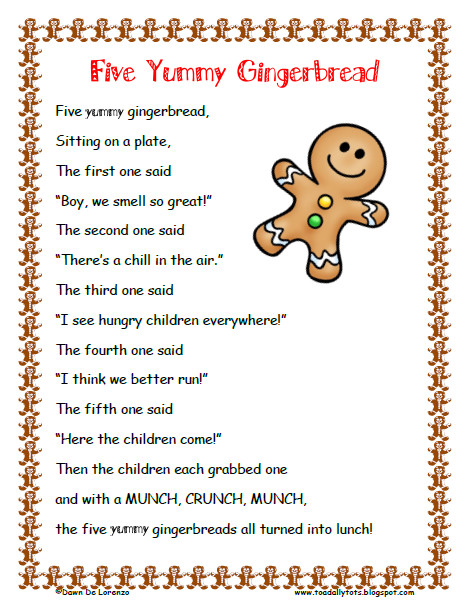 Christmas Cookies Lyrics  gingerbread man poem