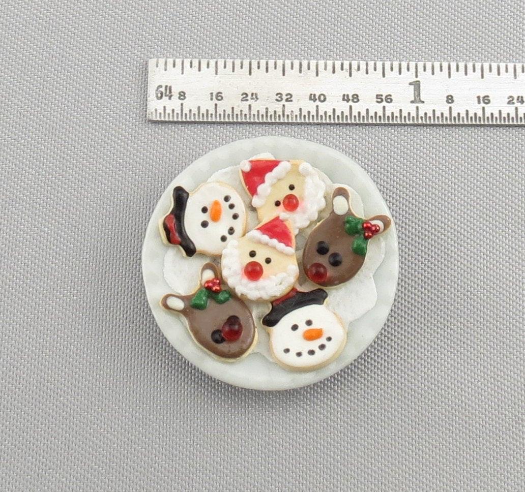 Christmas Cookies Plates  Dollhouse Miniature Christmas Cookies on Plate Santa Snowman