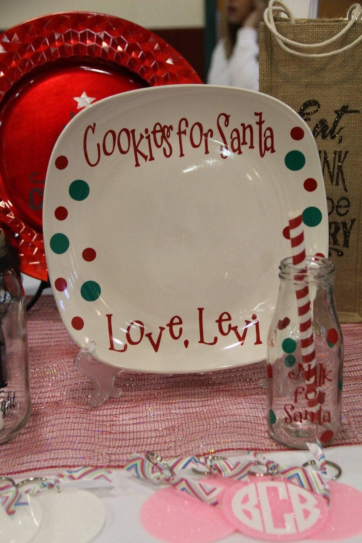 Christmas Cookies Plates  Cookies for Santa Plate Santas Milk Glass Santa Cookie