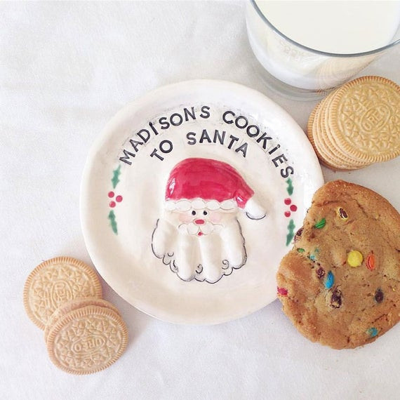 Christmas Cookies Plates  Small Christmas Cookie Plate Santa Plate by TheBabyHandprintCo