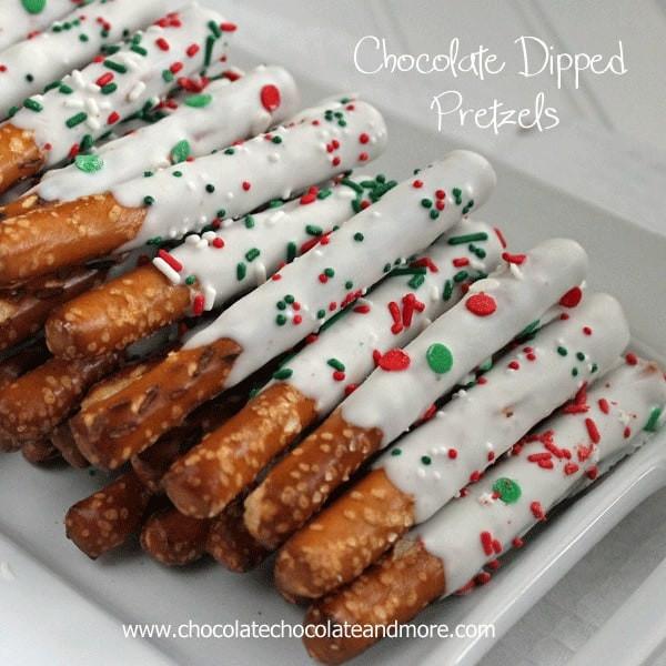 Christmas Dipped Pretzels  White Chocolate Dipped Pretzel Rods Chocolate Chocolate