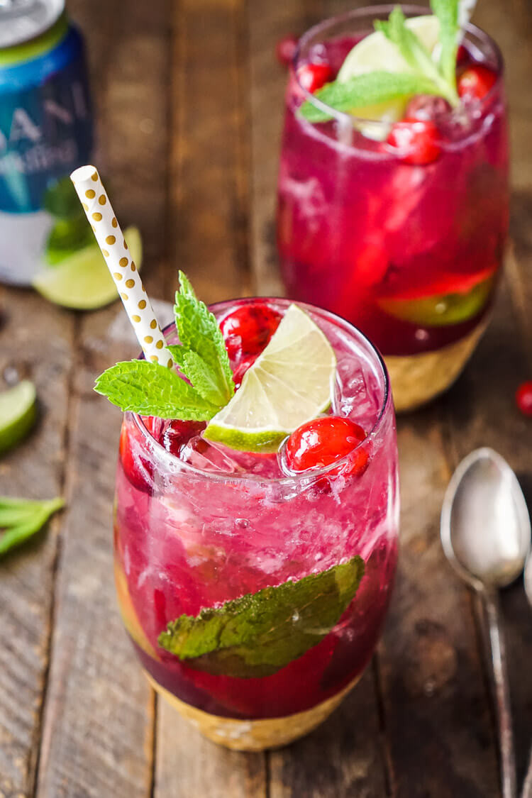 Christmas Drink Recipes With Alcohol  Cranberry Mojito Punch Sugar & Soul