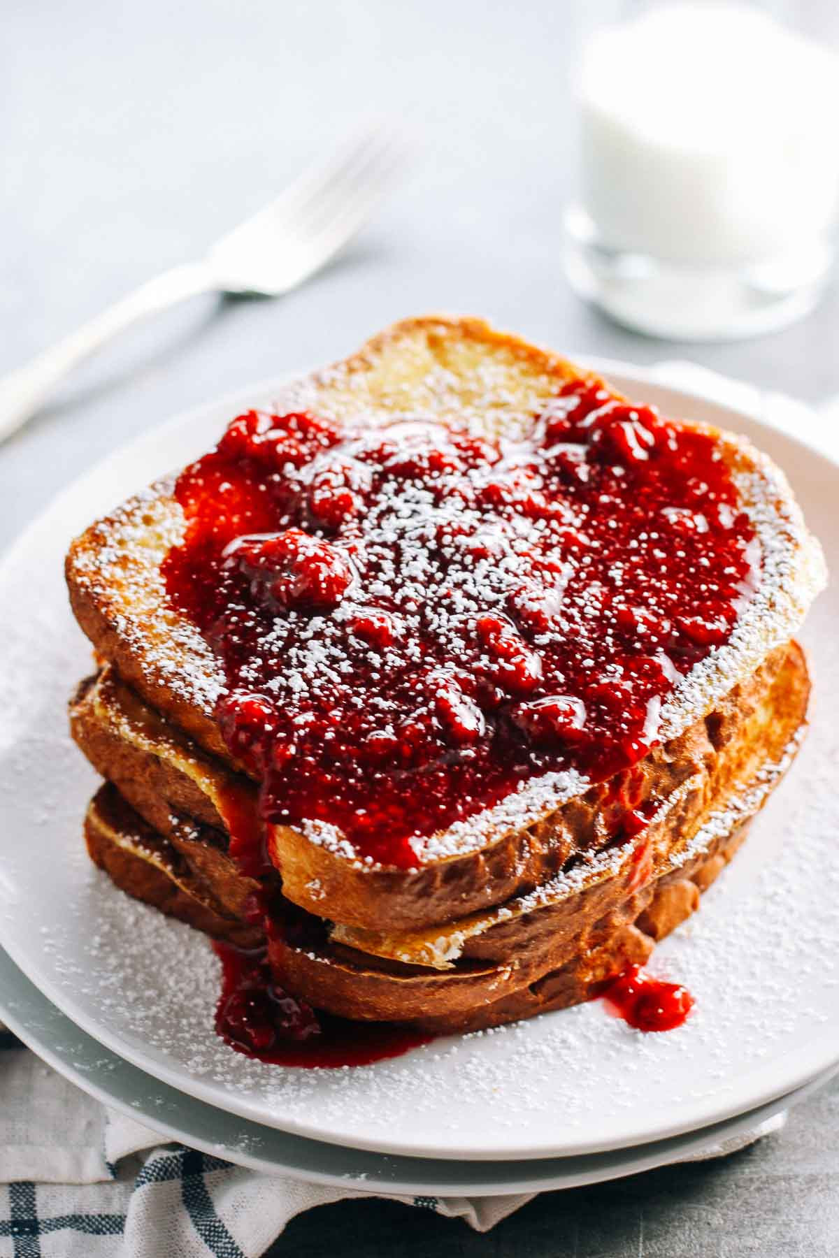 Christmas French Toast  Eggnog French Toast with Raspberry Sauce Recipe Pinch of Yum