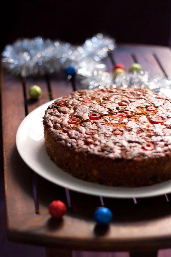 Christmas Fruit Cake Recipe  eggless christmas fruit cake recipe vegan eggless