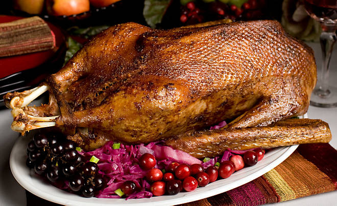Christmas Goose Dinner  Roasted Goose Alsatian Style Recipe
