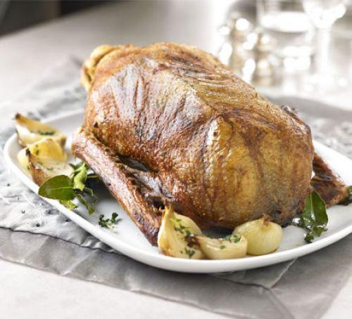 Christmas Goose Recipes  Classic roast goose with cider gravy recipe