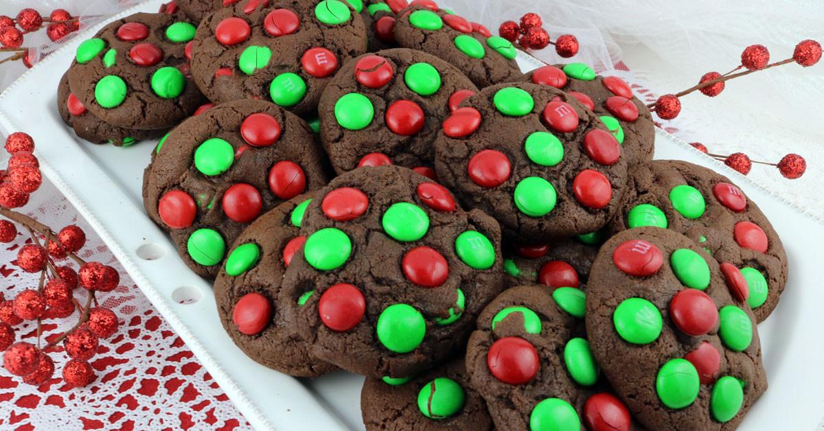 Christmas M&M Cookies  Chocolate M&M Christmas Cookies Two Sisters