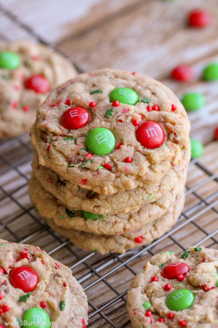 Christmas M&M Cookies  Chocolate Caramel Pecan Turtles Lil Luna