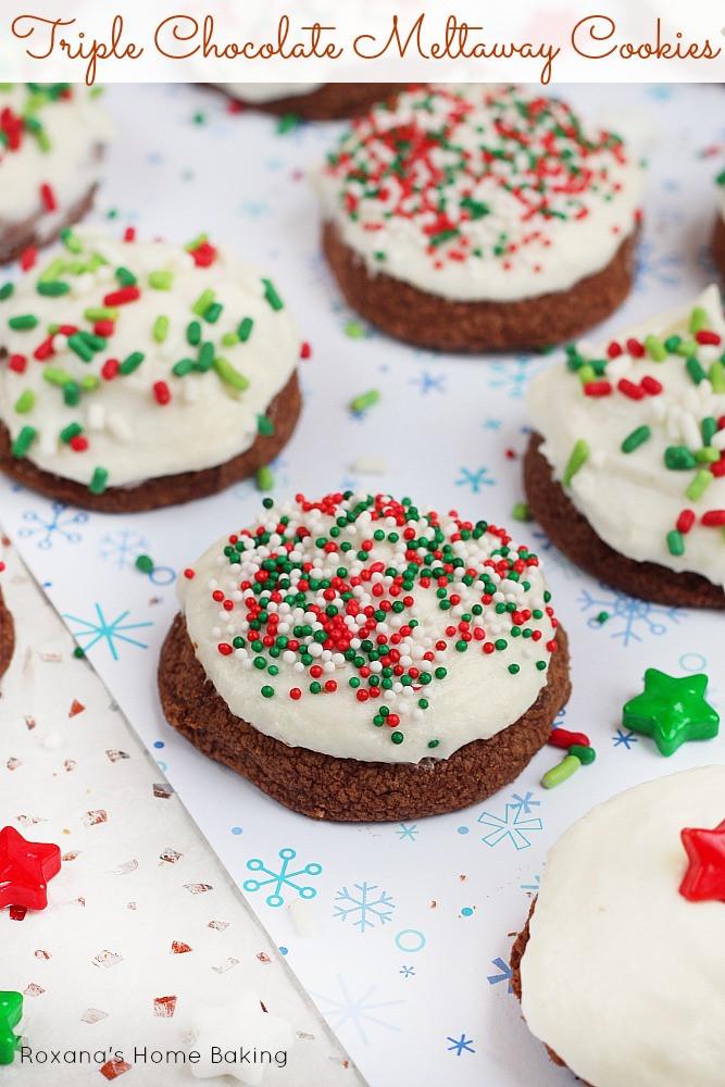 Christmas Meltaway Cookies  Triple chocolate meltaway cookies recipe