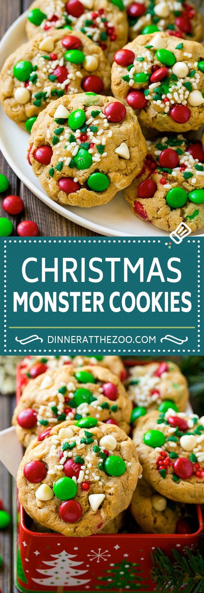 Christmas Oatmeal Cookies  Monster Cookies Christmas Version Dinner at the Zoo