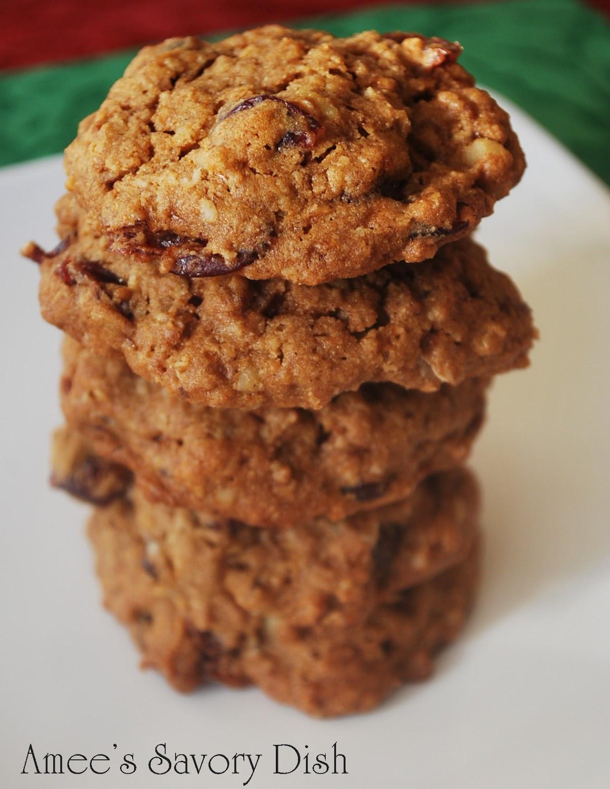Christmas Oatmeal Cookies  Cranberry Walnut Oatmeal Cookies Amee s Savory Dish