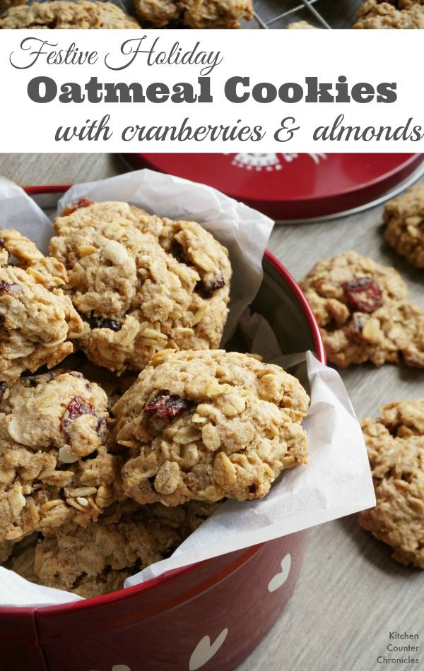 Christmas Oatmeal Cookies  Festive Holiday Oatmeal Cookies with Cranberries and Almonds
