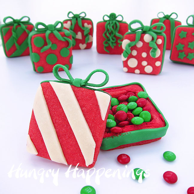 Christmas Present Cookies  Candy Filled Christmas Present Cookies Hungry Happenings