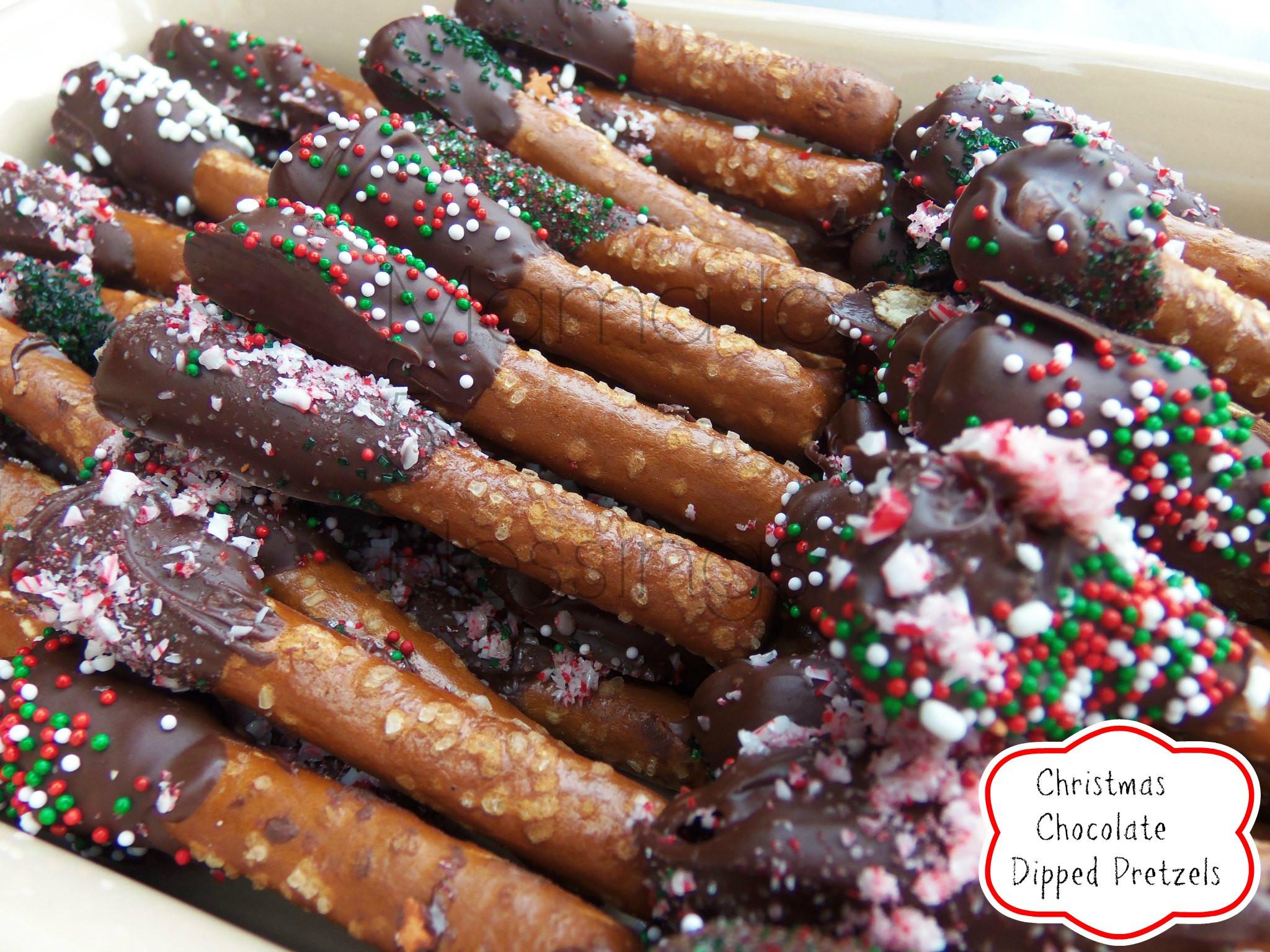 Christmas Pretzels Recipe  Chocolate Dipped Pretzels Recipe Mama to 6 Blessings