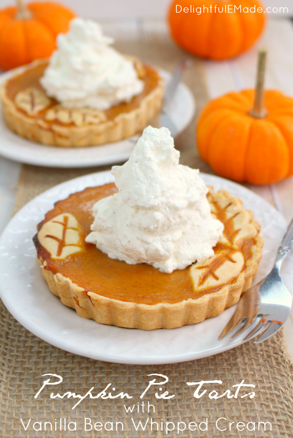 Christmas Pumpkin Pie  Pumpkin Pie Tarts with Vanilla Bean Whipped Cream