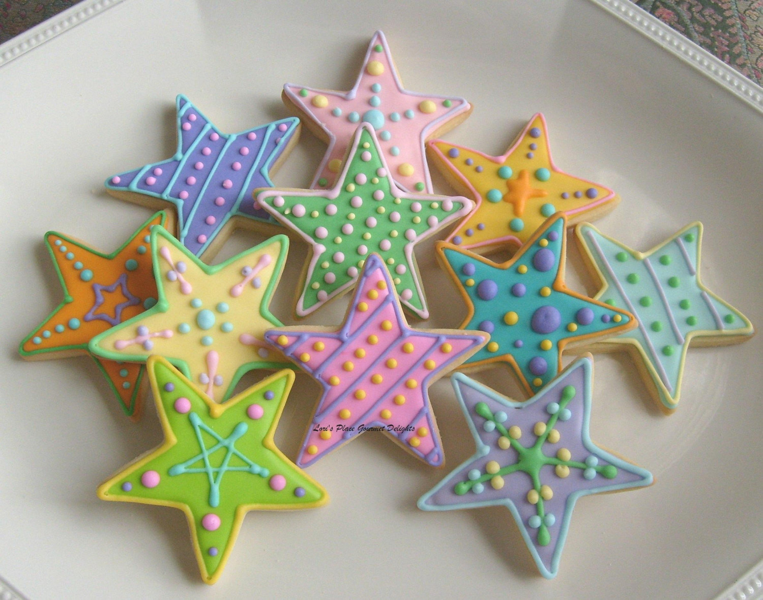 Christmas Star Cookies  COLORFUL STAR DECORATED COOKIES Star Cookie Favors Cookie