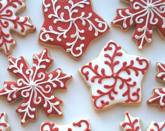 Christmas Star Cookies  Elegant Christmas Holiday Snowflake and Star Cookies e